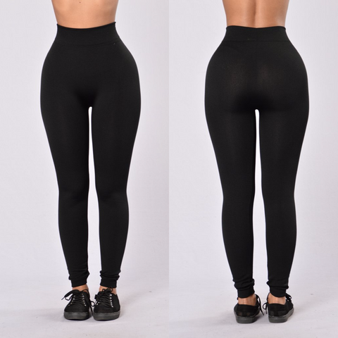 Black Fleece Leggings - Diva Boutiques