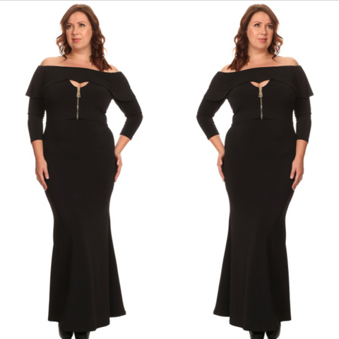 Black Off Shoulder Zipper Maxi Dress