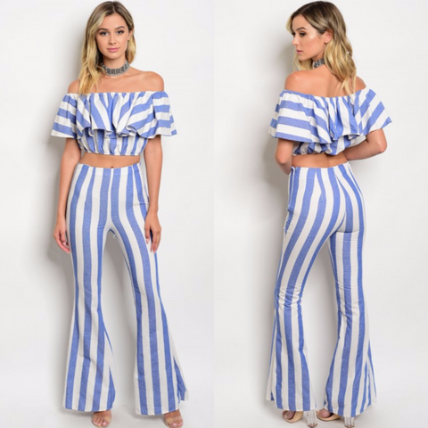 DENIM BLUE WHITE OFF SHOULDER TOP & PANTS SET