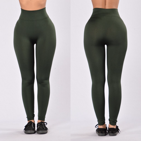 Green Fleece Leggings