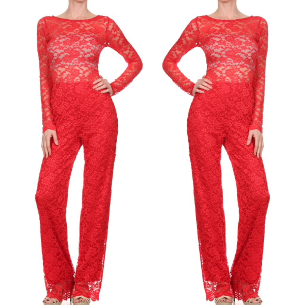 Red Lace Jumpersuit