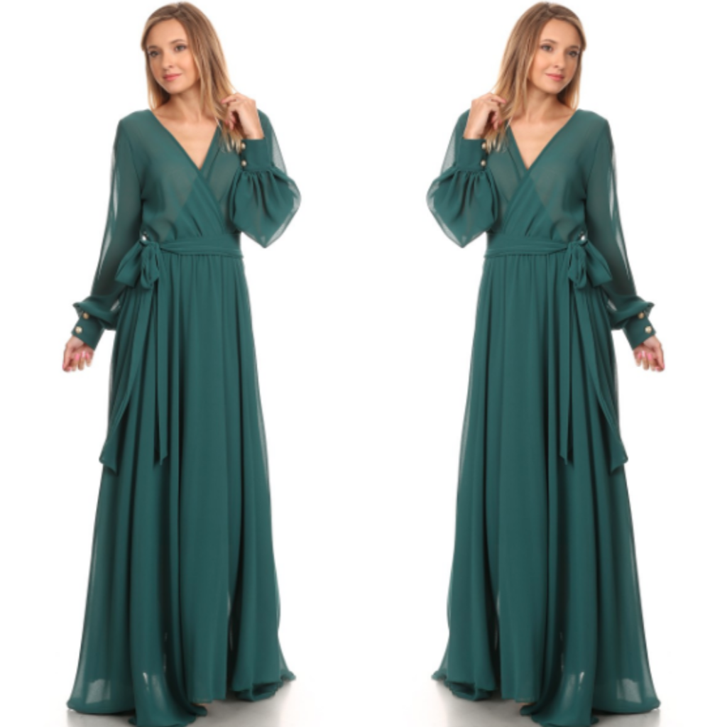 Forrest Green Chiffon Goddess Maxi Dress