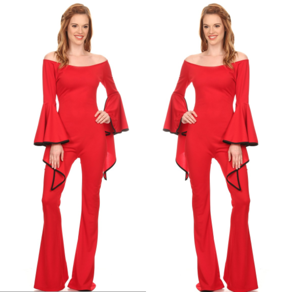 Red Off Shoulder Flutter Sleeve Jumpsuit
