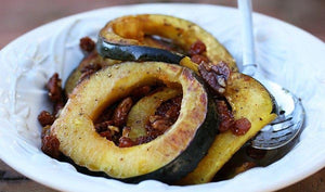 Golden Berry Glazed Acorn Squash with Pecans