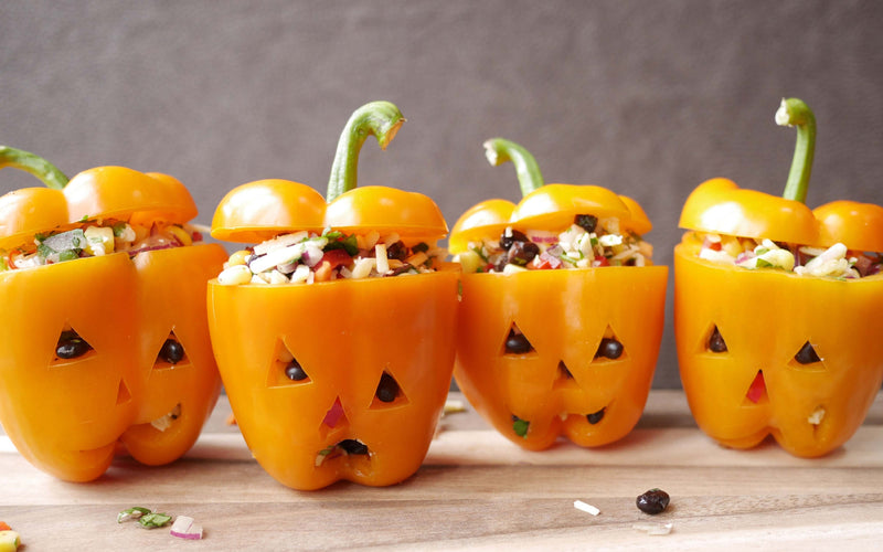 Halloween Inspired: Quinoa Stuffed Jack-o'-lantern & Witch Smoothie Bowl