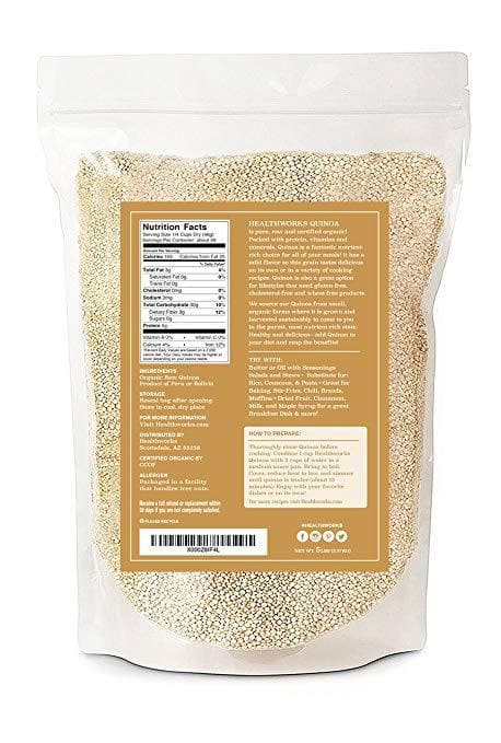 Healthworks Quinoa White Whole Grain Raw Organic, 10lb (2 5lb Packs) - Healthworks Superfood Organic