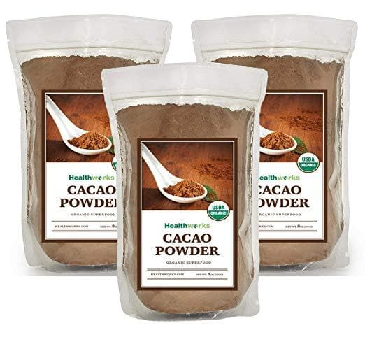 Healthworks Cacao Powder Certified Ogranic, 1.5lb (3 packs of 8oz) - Healthworks Superfood Organic
