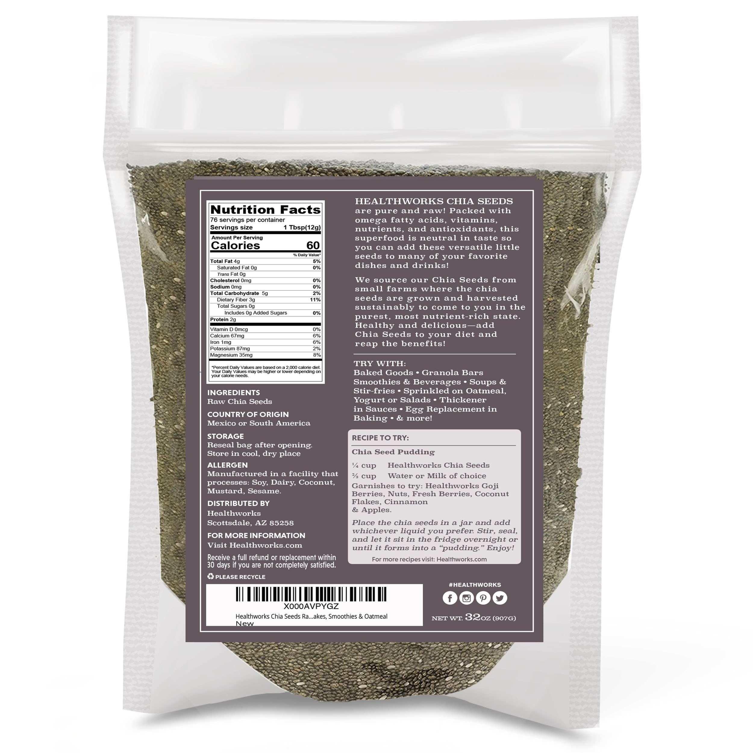 Healthworks Black Chia Seeds Raw Pesticide-Free, 4lb (2 2lb Packs) - Healthworks Superfood Organic