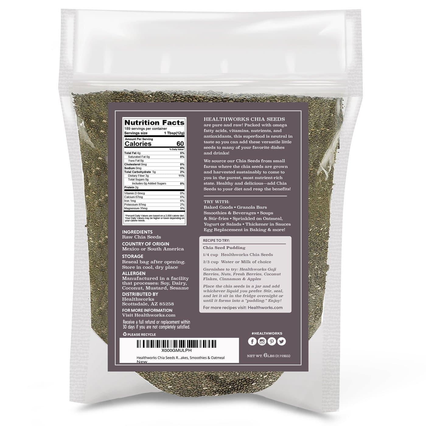 Healthworks Black Chia Seeds Raw Pesticide-Free, 6lb - Healthworks Superfood Organic