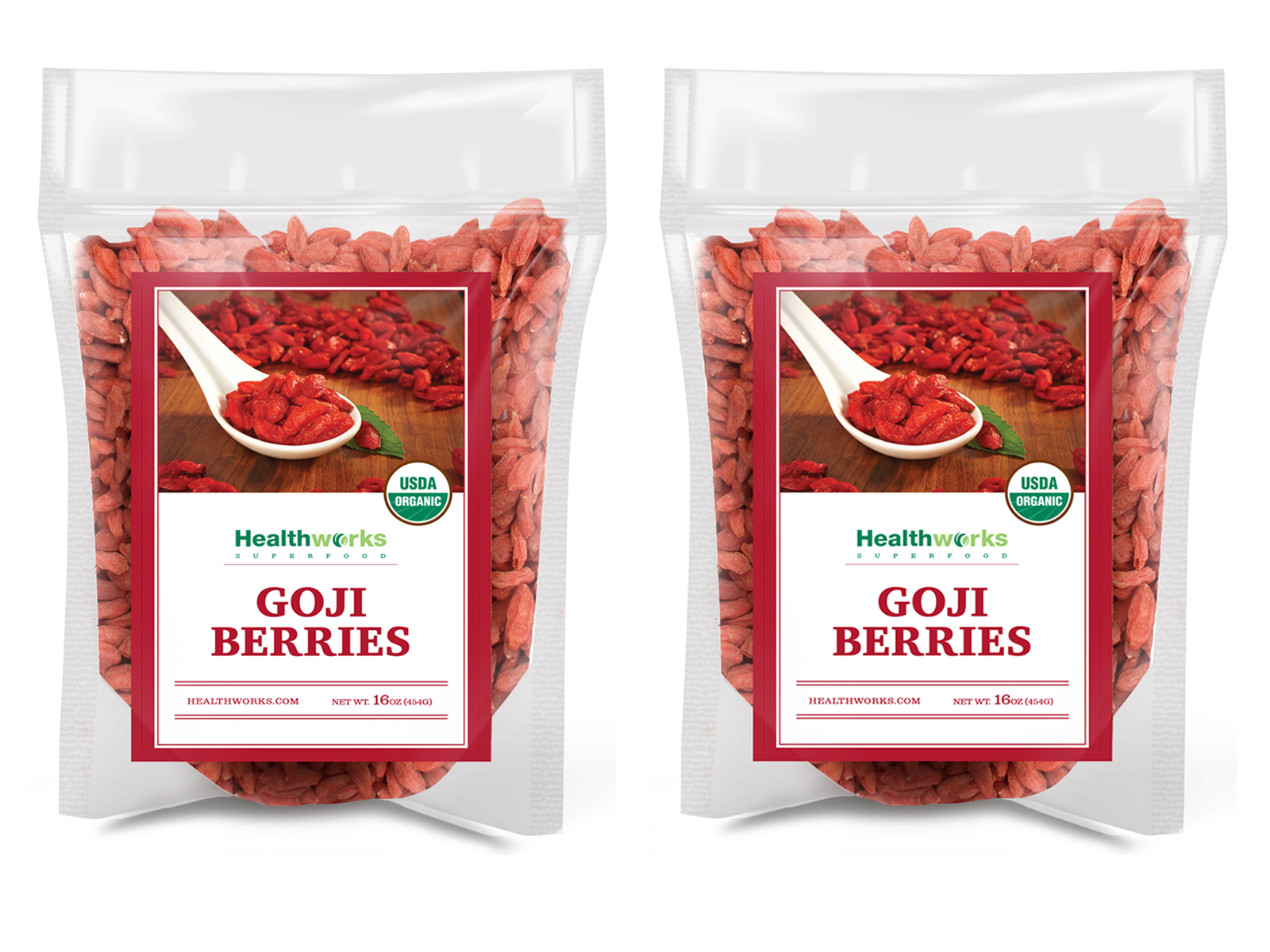 Healthworks Goji Berries Raw Organic, 2lb (2 1lb Packs) - Healthworks Superfood Organic