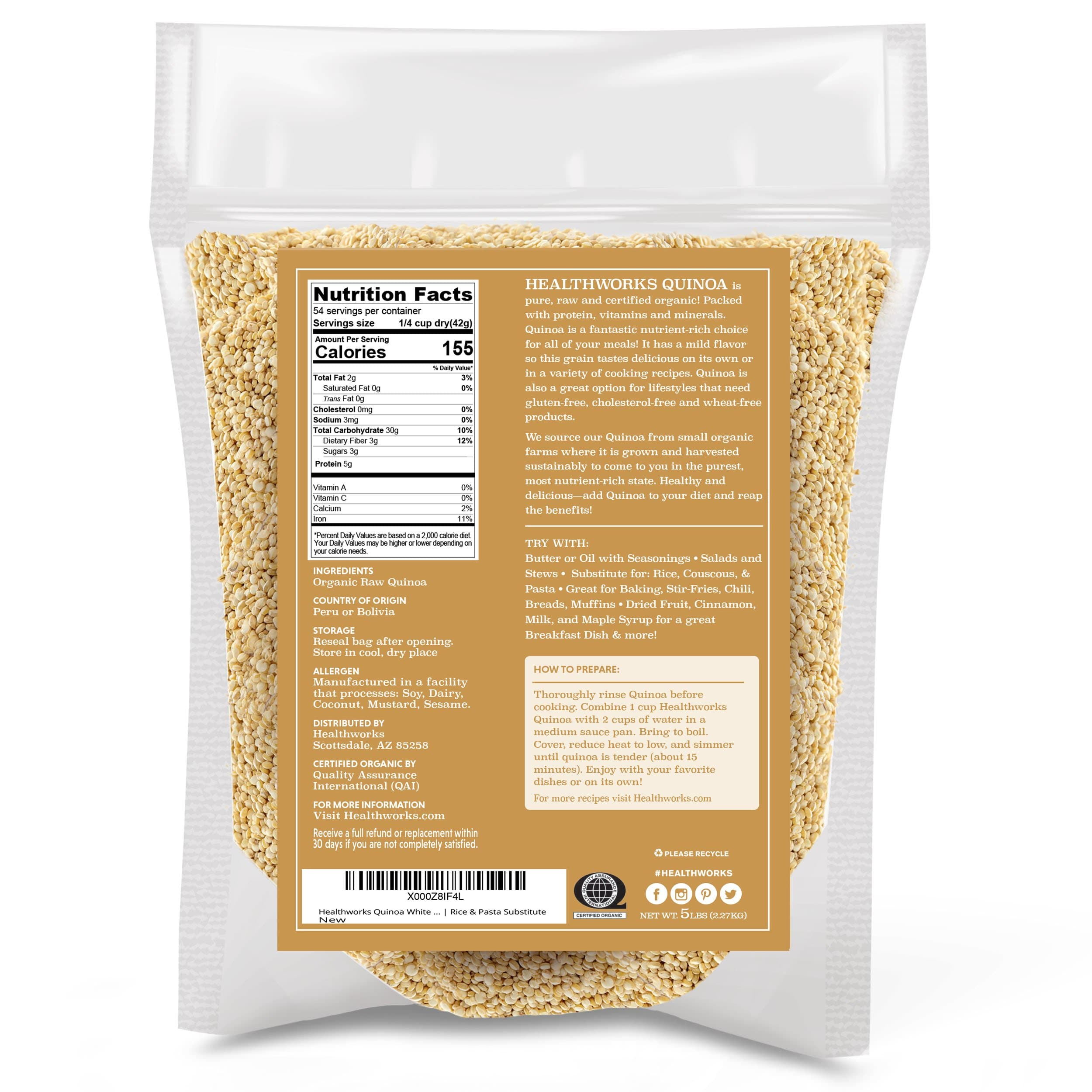 Healthworks Quinoa White Whole Grain Raw Organic, 5lb