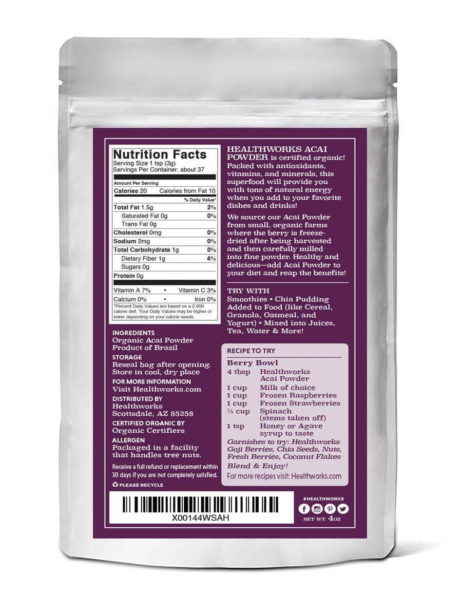 Healthworks Acai Berry Powder Freeze-Dried Raw Organic, 4oz - Healthworks Superfood Organic