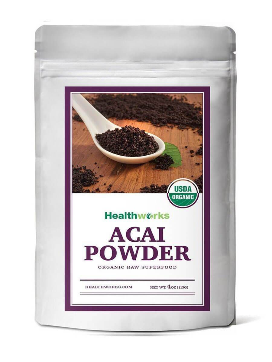 Healthworks Acai Berry Powder Freeze-Dried Raw Organic, 8oz (2 4oz Pack) - Healthworks Superfood Organic