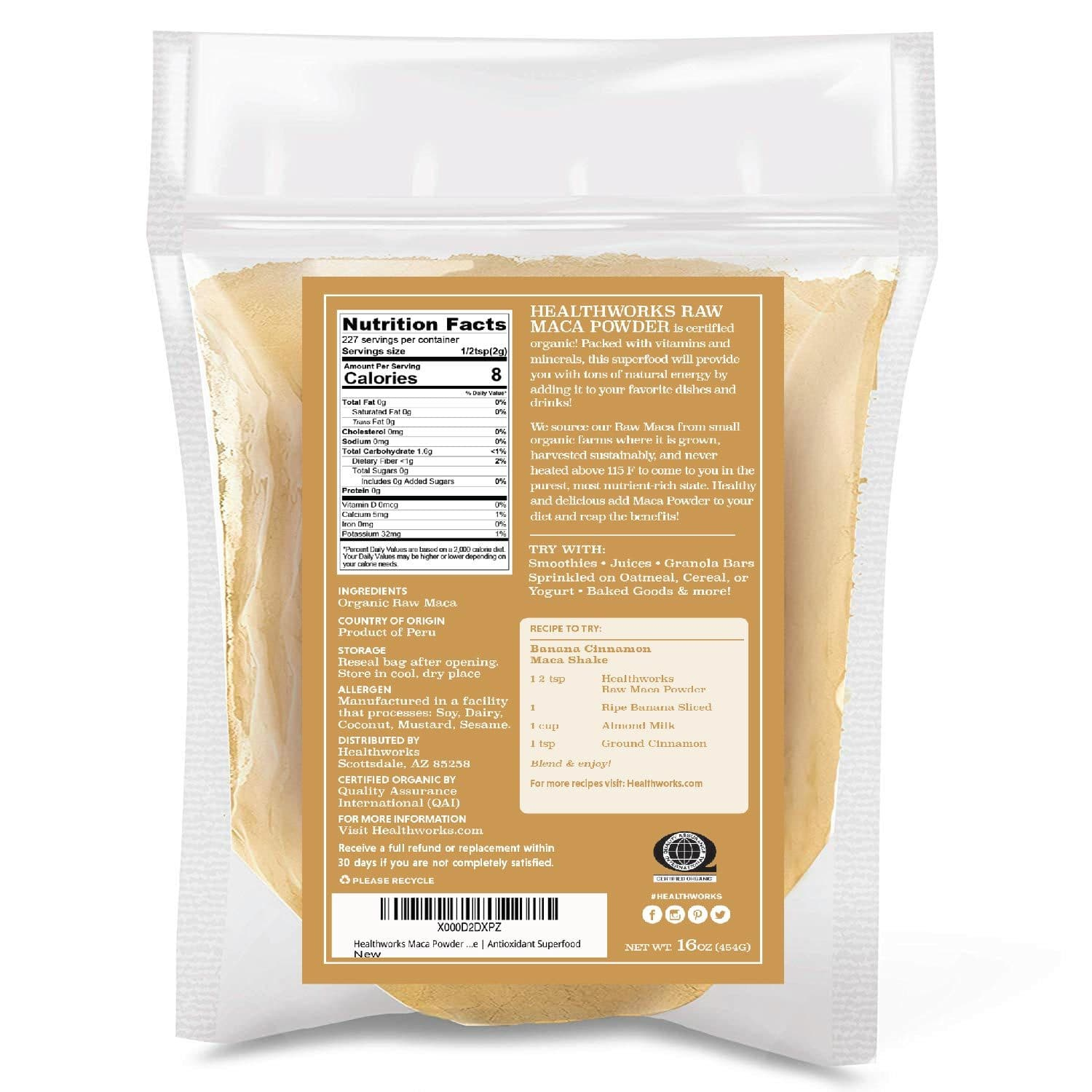 Healthworks Maca Powder Raw Organic, 1lb - Healthworks Superfood Organic