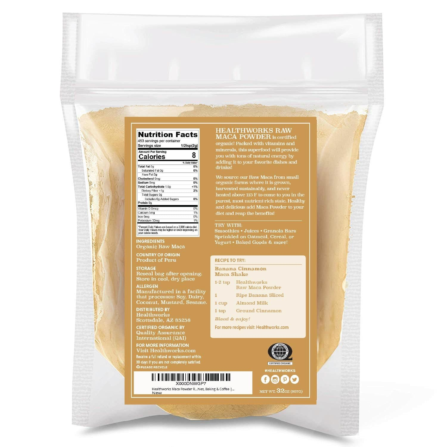 Healthworks Maca Powder Raw Organic, 2lb - Healthworks Superfood Organic