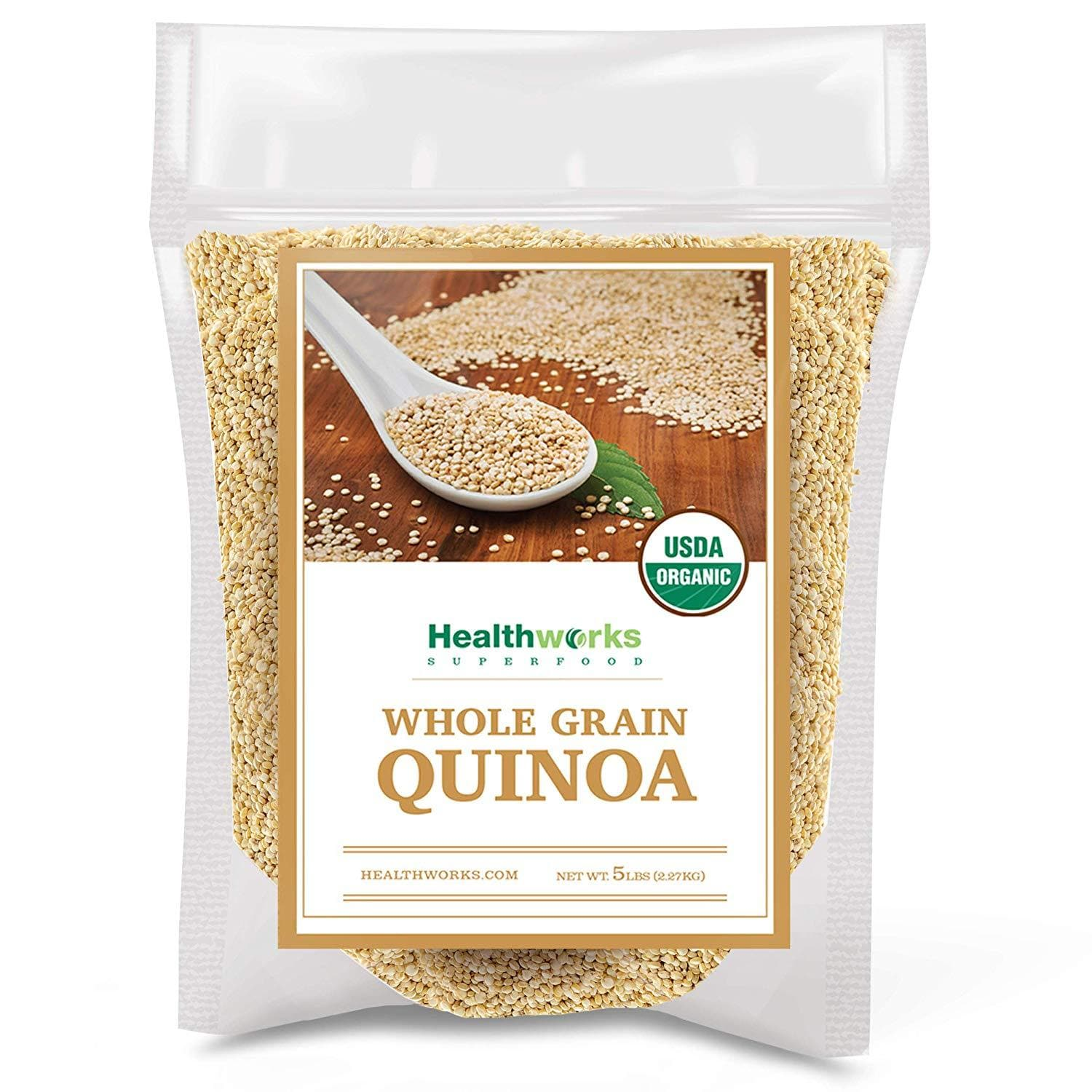 Healthworks Quinoa White Whole Grain Raw Organic, 5lb - Healthworks Superfood Organic