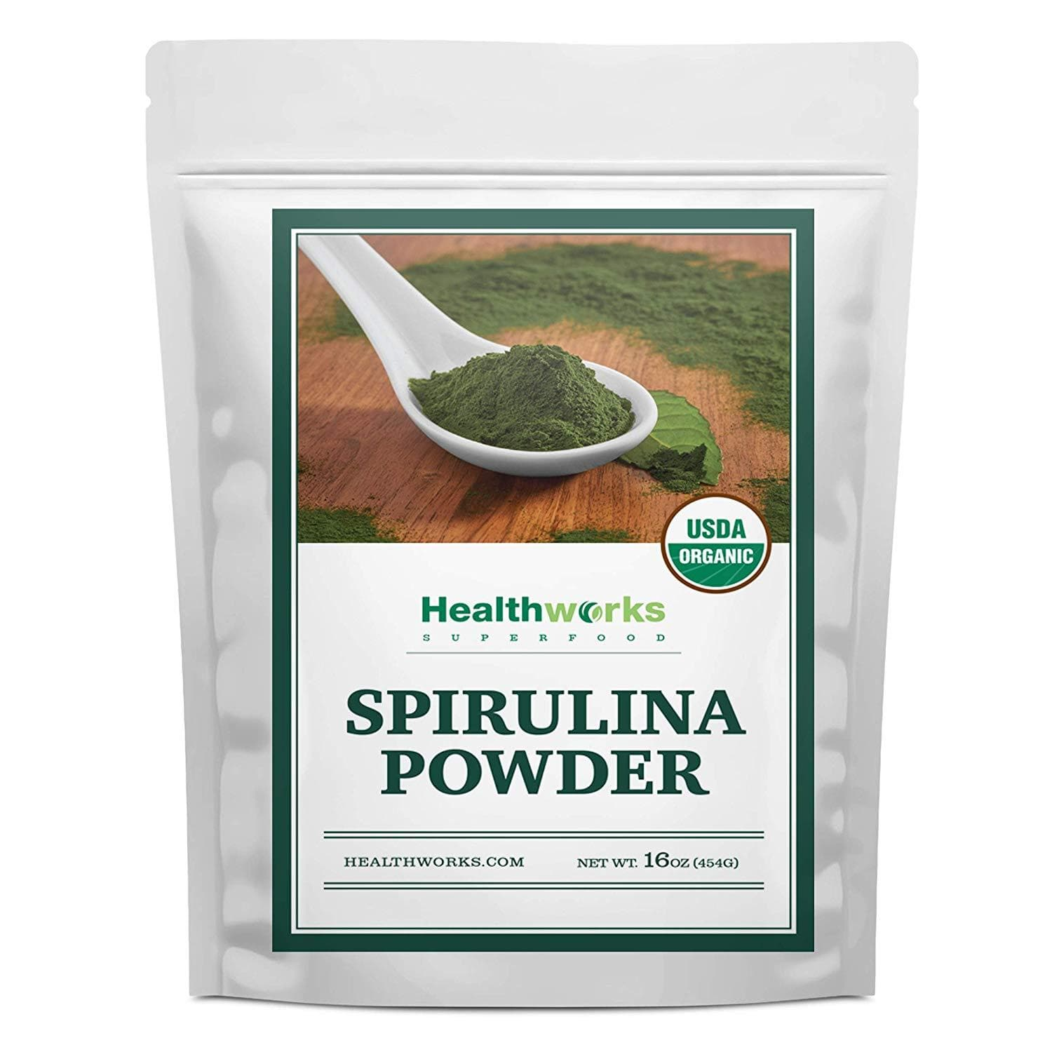 Healthworks Organic Spirulina Powder 1lb - Raw, Non-Irradiated and All-Natural - Healthworks Superfood Organic