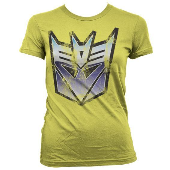 Distressed Decepticon Shield Girly T-Shirt - Official Licensed Original T-Shirt