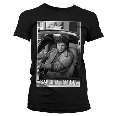 new product 36fc3 9a5a9 Hasselhoff In Knight Rider Girly Tee, Official Licensed, T-Shirt