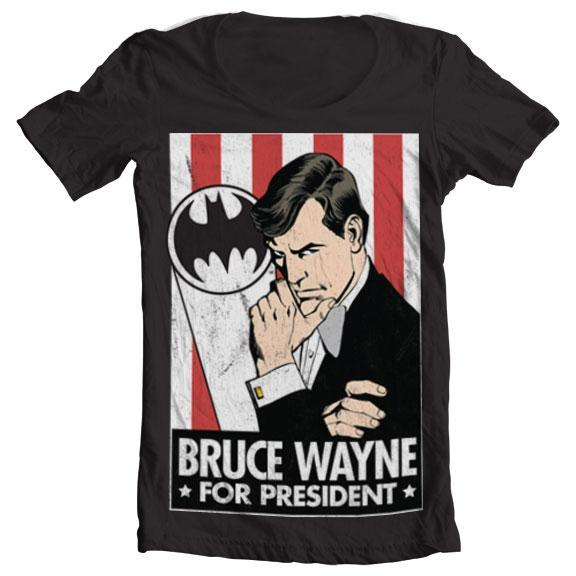 Bruce Wayne For President Wide Neck Tee