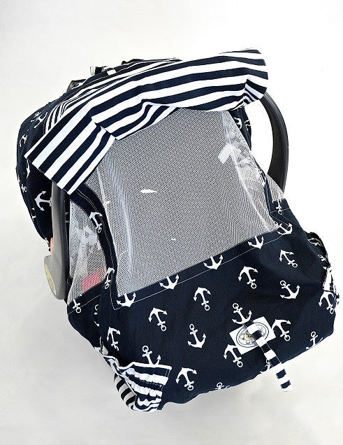 Navy and White Anchor Print Infant Car Seat Cover – Turtle Toppy