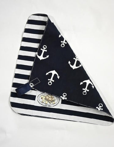 Navy and White Anchor Print Binky Blanket