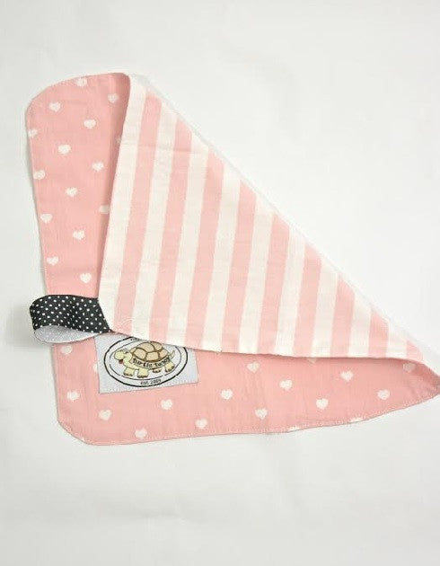 Pink and White Heart Print Binky Blanket