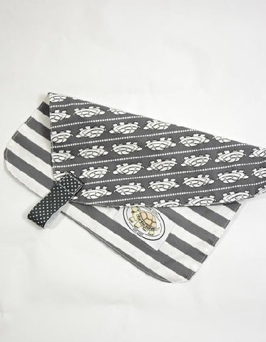 Grey & White Turtle Print Binky Blanket
