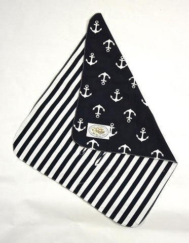 Navy and White Anchor Print Buckle Blanket