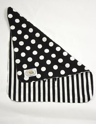Black and White Polka Dot Print Buckle Blanket