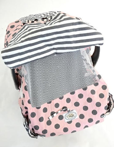 Pink and Grey Polka Dot Print Infant Car Seat Cover