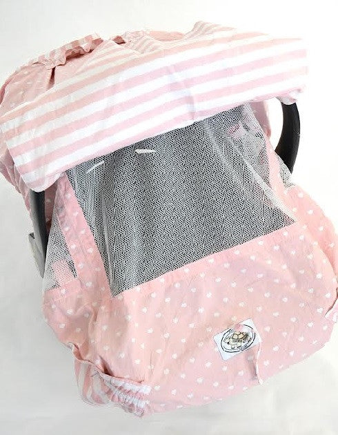 Pink and White Heart Print Infant Car Seat Cover