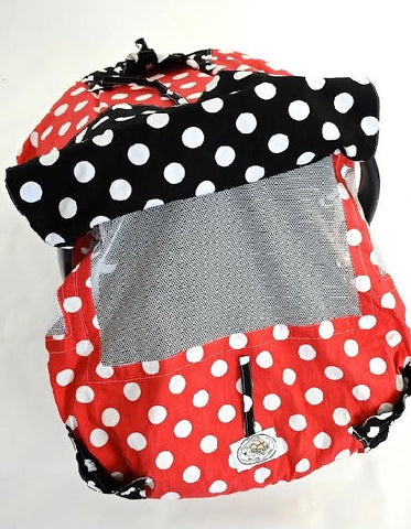 Red and White Polka Dot Infant Car Seat Cover