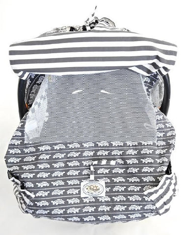Grey & White Turtle Print Infant Car Seat Cover