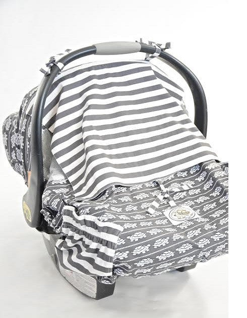 Grey White Turtle Print Infant Car Seat Cover