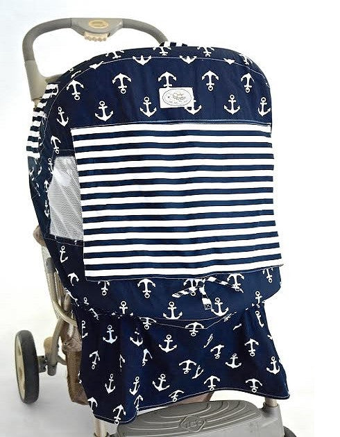 Navy and White Anchor Print Stroller Cover