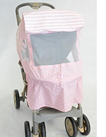 Pink And White Heart Print Stroller Cover