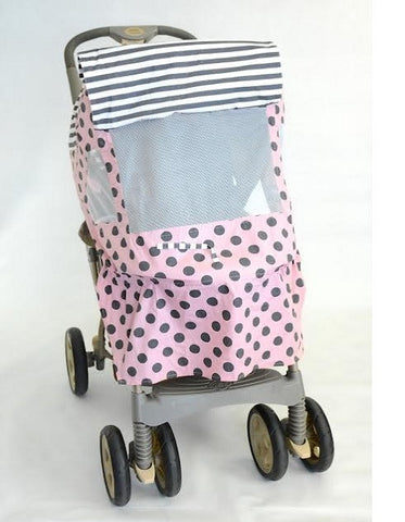 Pink and Grey Polka Dot Print Stroller Cover