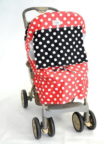 Red and White Polka Dot Print Stroller Cover