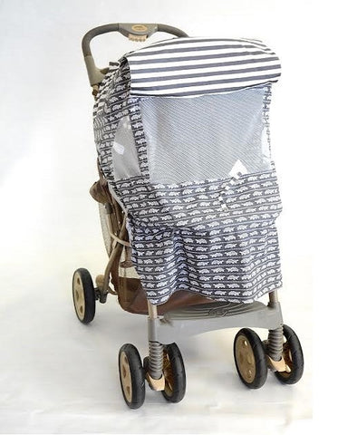 Grey & White Turtle Print Stroller Cover