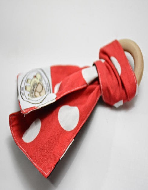 Red and White Polka Dot Print Teething Ring