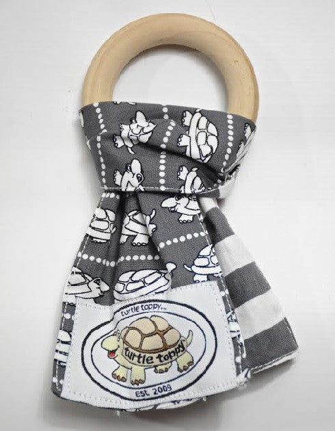 Grey and White Turtle Print Teething Ring