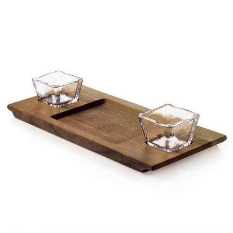 Andrew Pearce Dunmore Board & Glass Bowl Set - Black Walnut