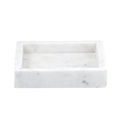 Square Marble Tray - White