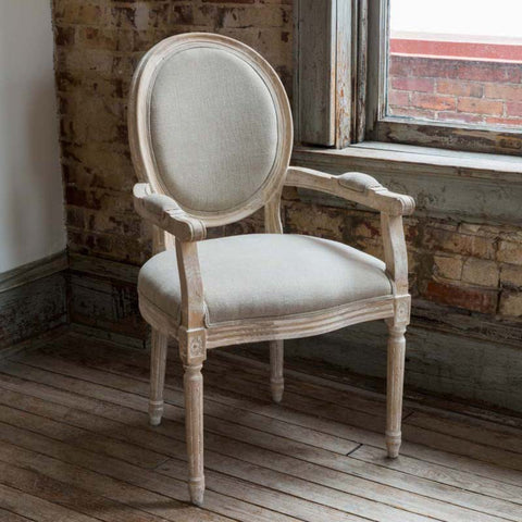White Washed Arm Chair