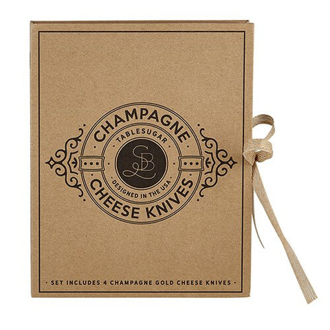 Cardboard Book Set - Champagne Gold Cheese Knives