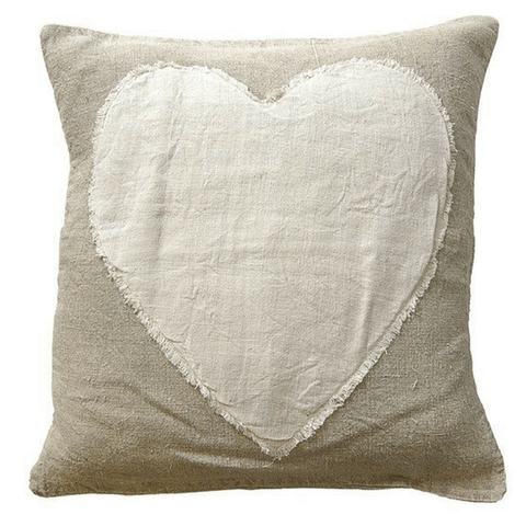 Heart Stitched Linen Pillow