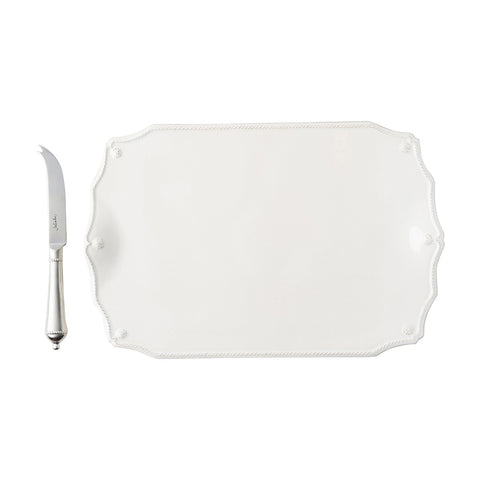 "Berry & Thread Whitewash 15"" Serving Board with Knife"