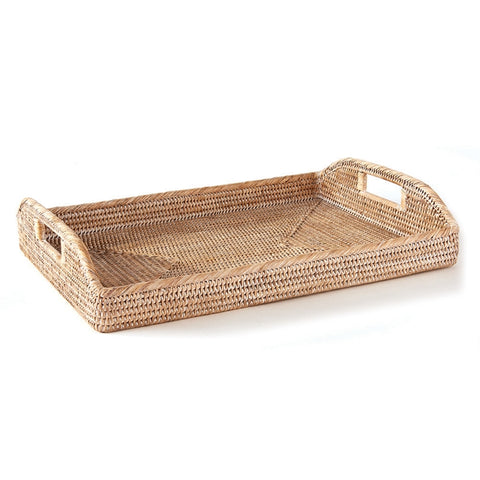 "Burma Rattan Morning Tray 20"" Whitewash"