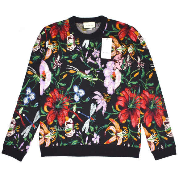 Gucci - Beaded Floral Intarsia Knit Sweater